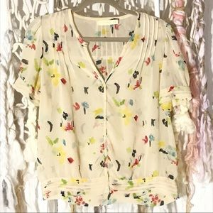 UO Pins and Needles Yellow button down blouse